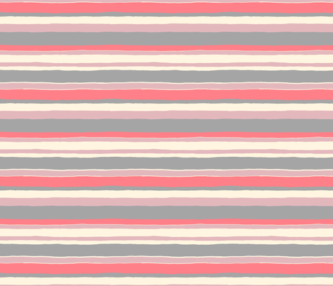 Painted Stripe (coral) fabric by leanne on Spoonflower - custom fabric