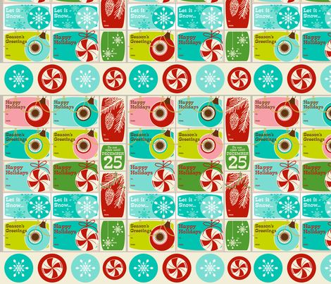 'Tis the Season Too! ~ Gift Tags ~ set no. 1 (WALLPAPER SWATCH) fabric by retrorudolphs on Spoonflower - custom fabric