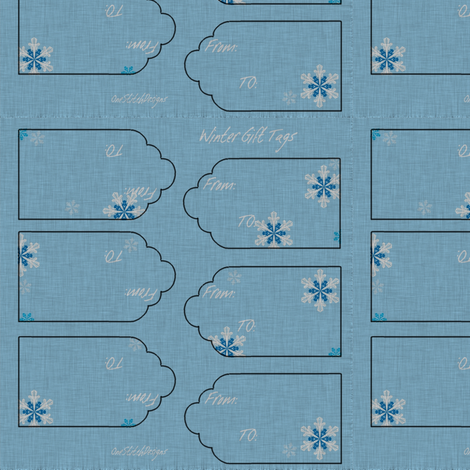 Any Winter Holiday Gift Tags Snowflakes To and From  fabric by onestitchdesigns on Spoonflower - custom fabric