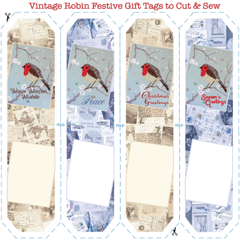 Vintage_Robin_Gifttags fabric by peppermintpatty on Spoonflower - custom fabric