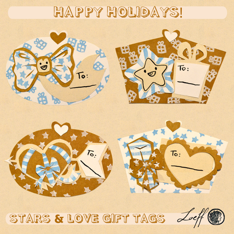 Stars & Love Gift Tags fabric by loeff on Spoonflower - custom fabric