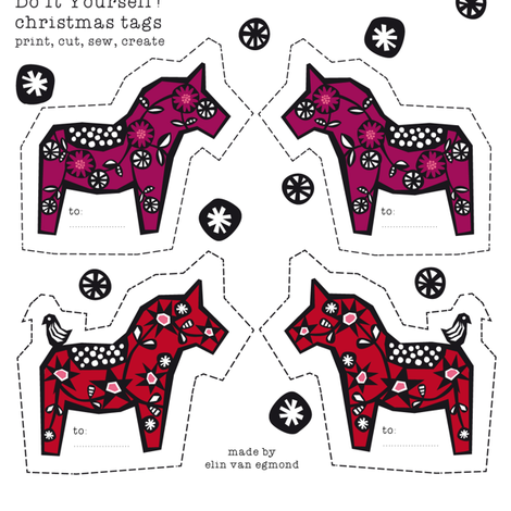 swedish christmas horses fabric by elinvanegmond on Spoonflower - custom fabric
