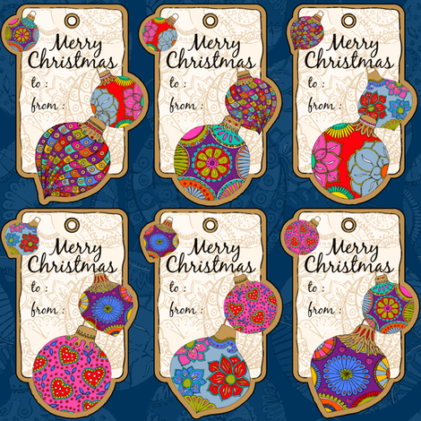 Bohemian Gift-tag fabric by cassiopee on Spoonflower - custom fabric