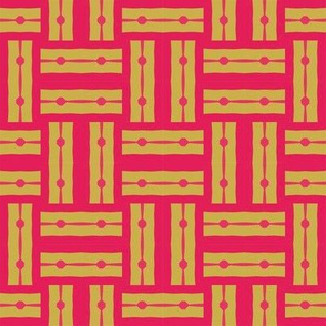 Double Weave with Dots___-cherry and mustard