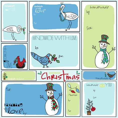 Holiday Handmade Gift Tags  fabric by pattyryboltdesigns on Spoonflower - custom fabric