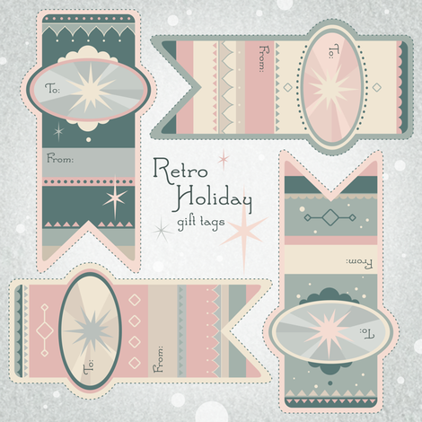 Retro Holiday gift tags fabric by theboerwar on Spoonflower - custom fabric