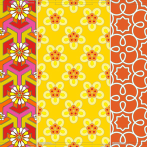 "Three 16"" pillows in 1 yard - Orange Geometric"