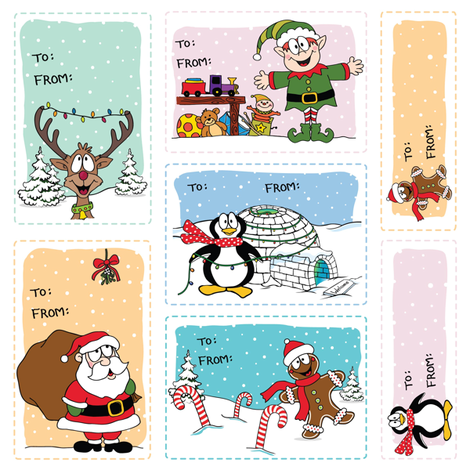 Jolly Holiday Gift Tags fabric by holladaydesigns on Spoonflower - custom fabric
