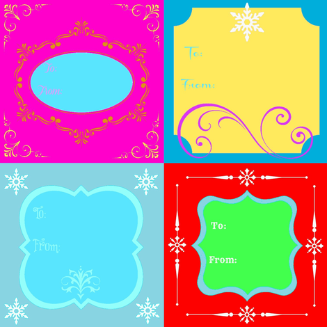 Holiday Gift Tags - with To & From fabric by painter13 on Spoonflower - custom fabric