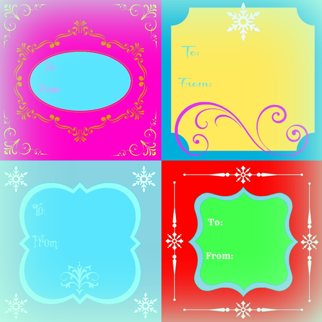 Holiday Gift Tags - with To & From and Frosted Edges fabric by painter13 on Spoonflower - custom fabric