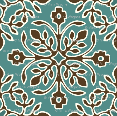 2-Papercuts diagonal - vector - with outlines - brown & cream on bluegreen-sm