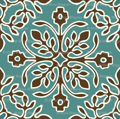 2-Papercuts diagonal - vector - with outlines - brown & cream on bluegreen-lg