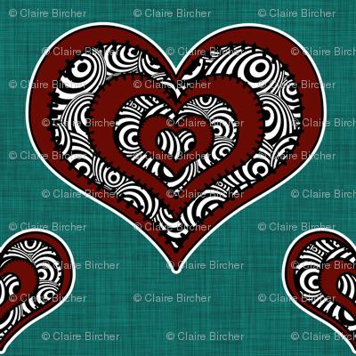 Voodoo Hearts on teal medium
