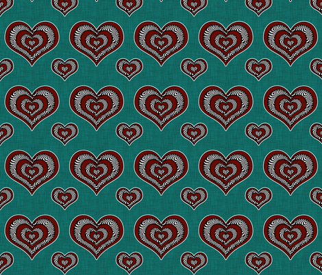 Voodoo Hearts on teal medium fabric by glanoramay on Spoonflower - custom fabric