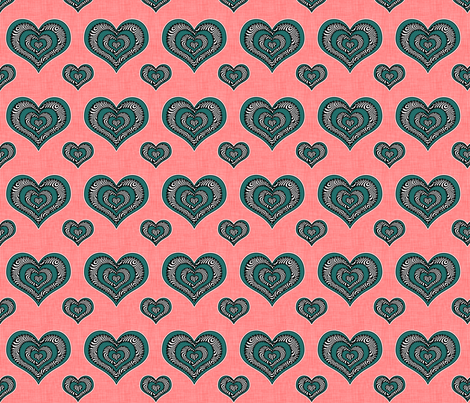 Voodoo Hearts on pink small fabric by glanoramay on Spoonflower - custom fabric
