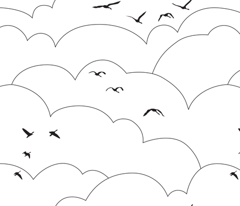 flying high - black and white fabric by ravynka on Spoonflower - custom fabric