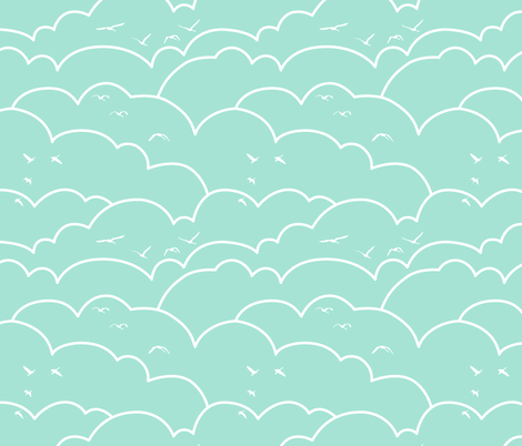flying high - mint fabric by ravynka on Spoonflower - custom fabric