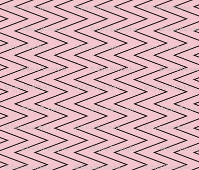 mini chevron black on pink