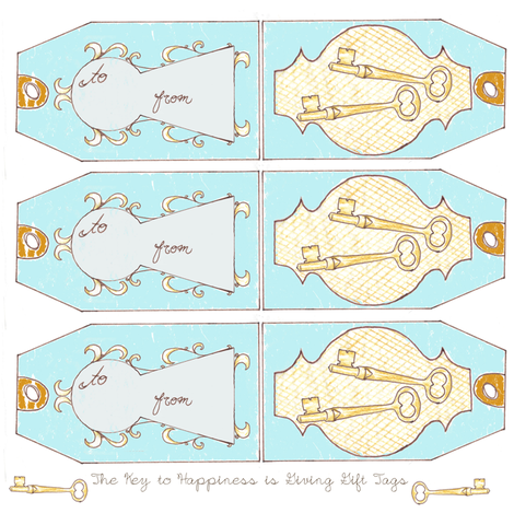The Key to Happiness is Giving Gift Tags fabric by sparegus on Spoonflower - custom fabric