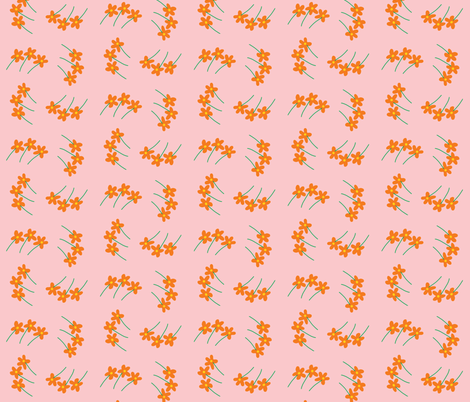 litte orange flower whirl fabric by pmegio on Spoonflower - custom fabric