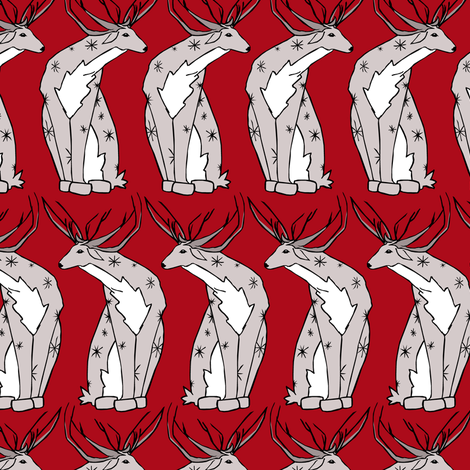 Deer on Red fabric by pond_ripple on Spoonflower - custom fabric