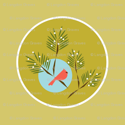 Green circle winter bird