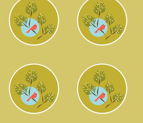 Green circle winter bird fabric by langdon on Spoonflower - custom fabric