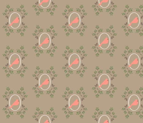 Neutral pink winter bird fabric by langdon on Spoonflower - custom fabric