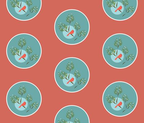 Winter bird aqua coral fabric by langdon on Spoonflower - custom fabric