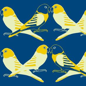 Botanic & Birds - Flock-Dk Blue, Yellow