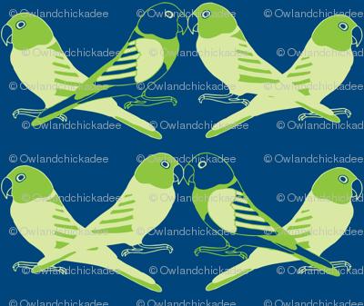 Botanic & Birds - Flock-Dk Blue, Green