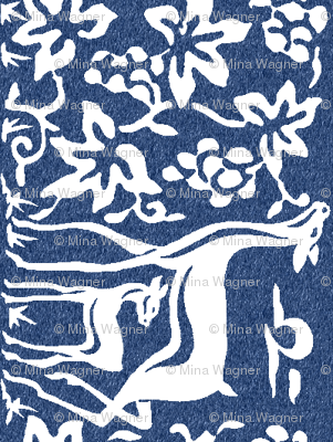 Arts & Crafts deer and grapes - white on indigo