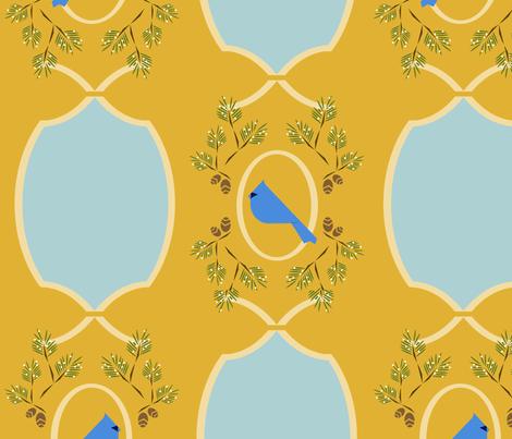 Yellow  blue Victorian bird fabric by langdon on Spoonflower - custom fabric