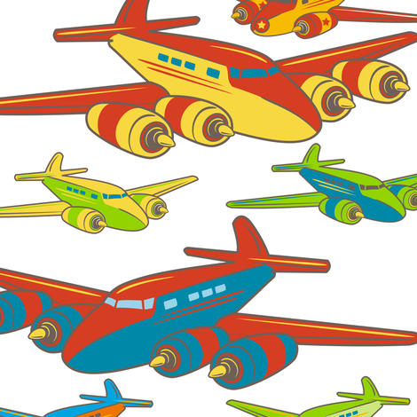 "Retro Toy Planes ~ 30"" Decal only fabric by retrorudolphs on Spoonflower - custom fabric"