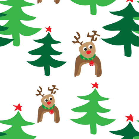 Reindeers and Christmas Trees fabric by lesrubadesigns on Spoonflower - custom fabric