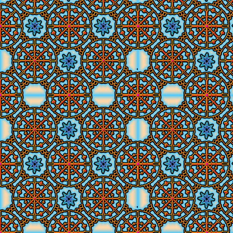 crossed embroidery needles and orange spider webs fabric by y-knot_designs on Spoonflower - custom fabric