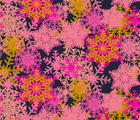 Pink Snowflake fabric by susanna_nousiainen on Spoonflower - custom fabric