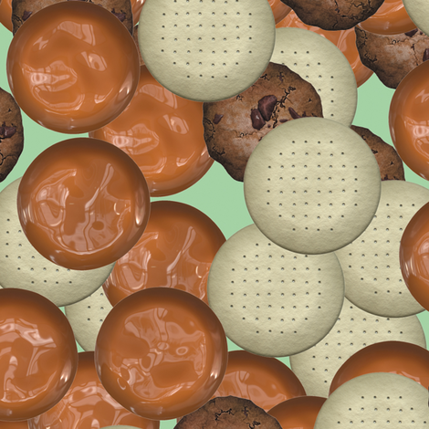 Ditsy Cookies and Toffee fabric by animotaxis on Spoonflower - custom fabric
