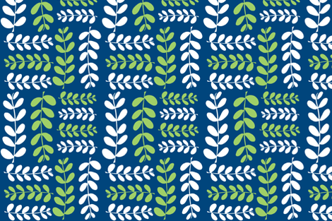 Olive Branches 2 (midnight sky blue, granny apple green & white) fabric by pattyryboltdesigns on Spoonflower - custom fabric