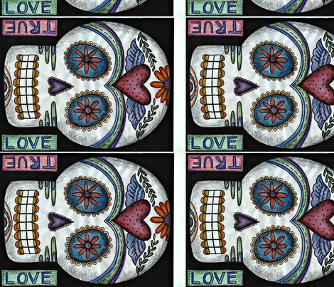 true love sugar skull fabric by debbicrane on Spoonflower - custom fabric
