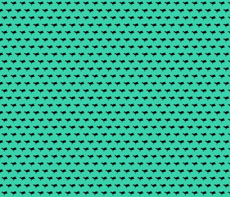 Birdsong - Black on Aqua (Half-Brick) fabric by lisulle on Spoonflower - custom fabric