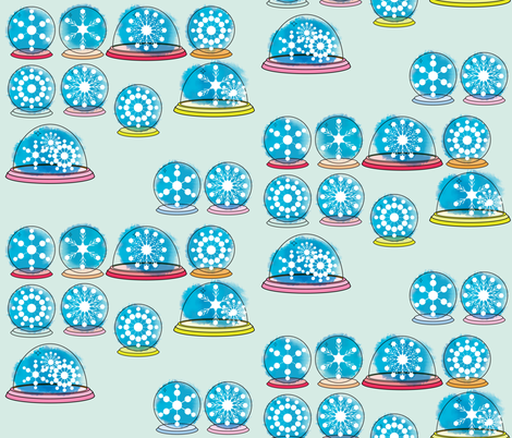 Snowglobes - Ice Blue fabric by owlandchickadee on Spoonflower - custom fabric