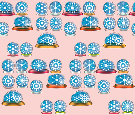Snowglobes - Pink fabric by owlandchickadee on Spoonflower - custom fabric