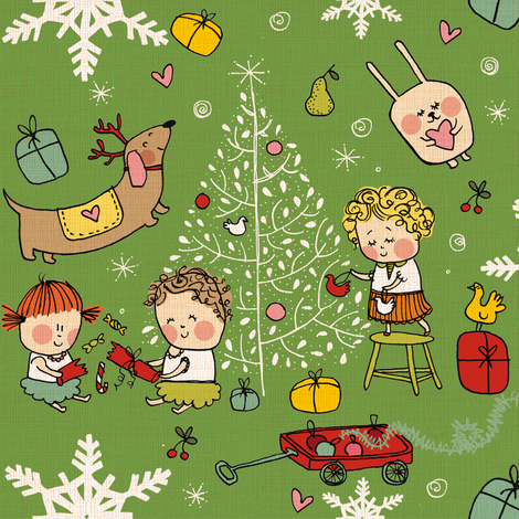 Vintage christmas fabric by laurawrightstudio on Spoonflower - custom fabric