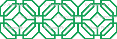 Octagon trellis - green on white