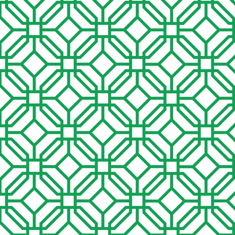 Octagon trellis - green on white fabric by little_fish on Spoonflower - custom fabric