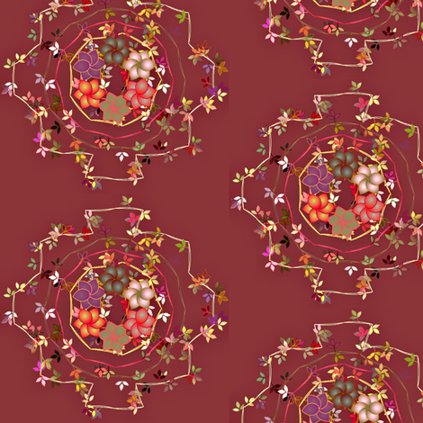 Daisy_Chain_Floral_on_Dark_Rose fabric by patsijean on Spoonflower - custom fabric