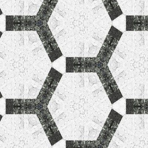 Bold Hexagons Charcoal Black and White