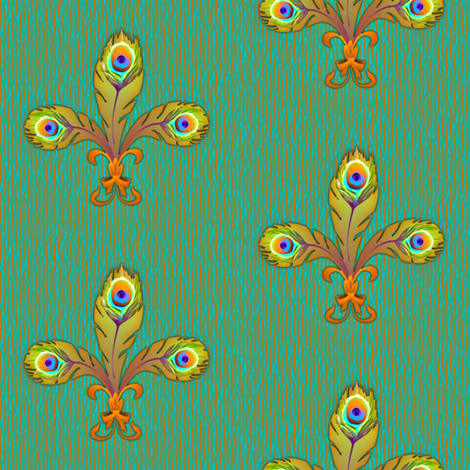 peacock_fleurdeli2_bronze-ed fabric by glimmericks on Spoonflower - custom fabric
