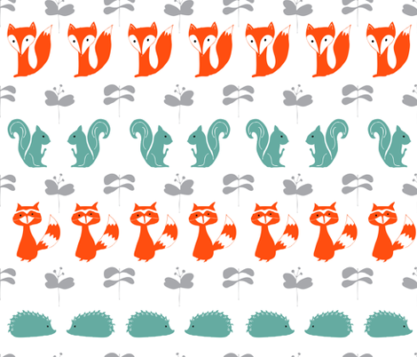 Modern Woodland Creatures in white fabric by emilyannstudio on Spoonflower - custom fabric